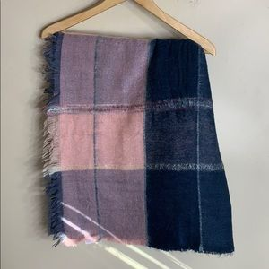 Madewell navy and pink plaid blanket scarf